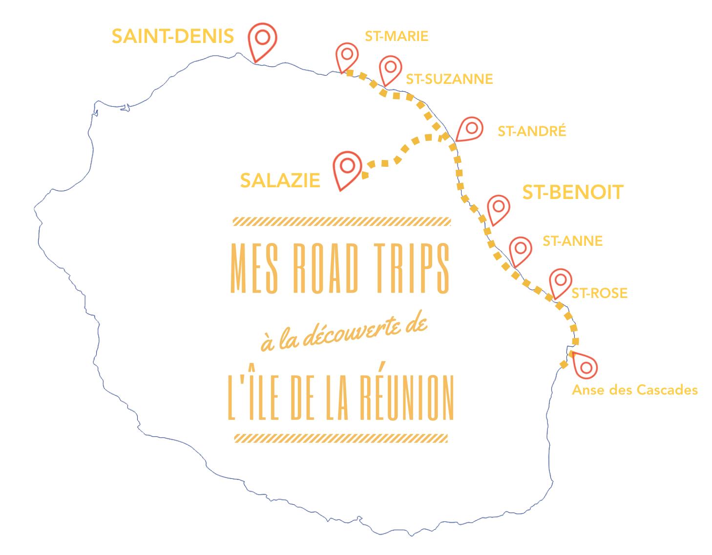 carte de la reunion itinéraire